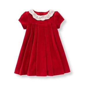 Janie and Jack LACE COLLAR VELVETEEN DRESS 3-6 Mo